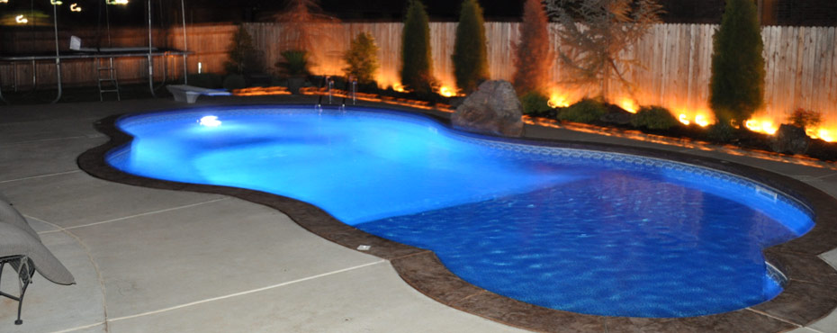 Interesting Inground Pools At Night Intended Decorating Ideas